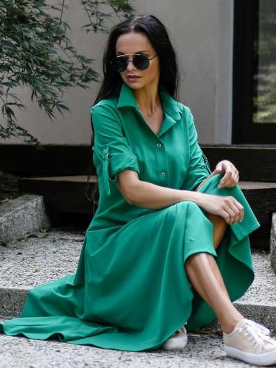Sukienka szmizjerka z rękawem w zielonym kolorze, za kolano, rozpinana Bee Collection Lora