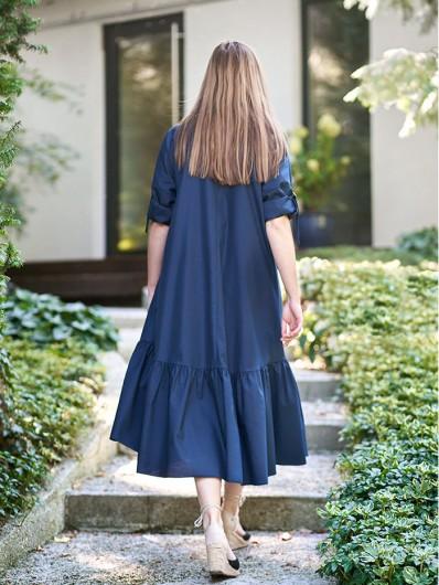 Szeroka, luźna sukienka z tkaniny bawełnianej, granatowa, z rękawem, asymetryczna Bee Collection Yara