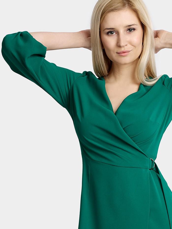 Sukienka wizytowa elegancka w modnej zieleni z rękawem Bee Collection