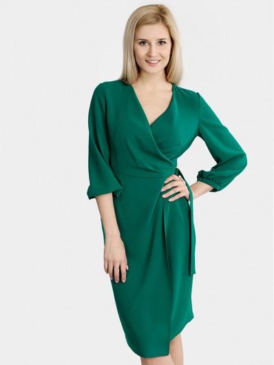 Sukienka tuszująca, pasująca na wiele sylwetek, zielona, szlafrokowa Bee Collection
