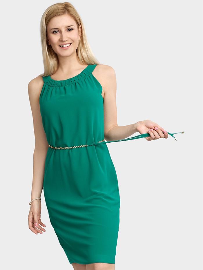 Sukienka wizytowa, minimalistyczna, luźna, tuszująca zielona Bee Collection