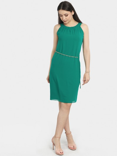 Sukienka midi w modnym zielonym kolorze, luźna wizytowa na wesele i komunię Bee Collection