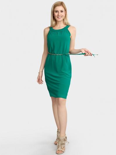 Nowoczesny, ponadczasowy fason sukienki wizytowej w zielonym kolorze Bee Collection