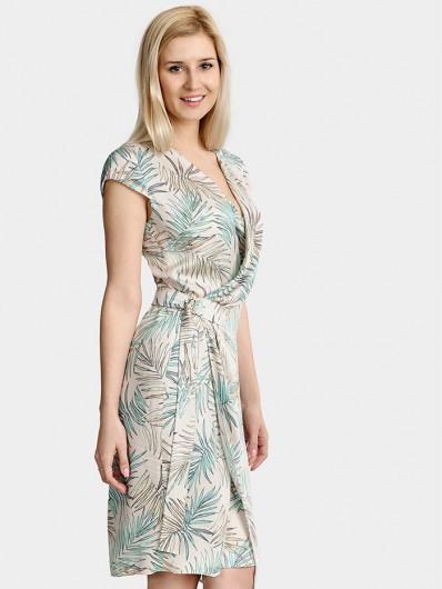 Elegancka a zarazem wygodna sukienka na letnie upały z wiskozy, kopertowa Bee Collection