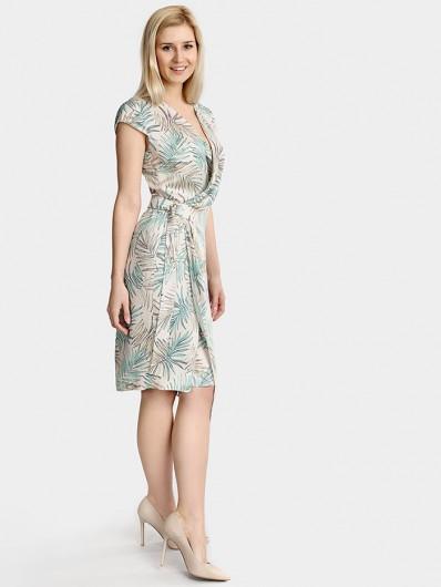 Zakładana kopertowo sukienka na lato, midi z oryginalnym drukiem Bee Collection