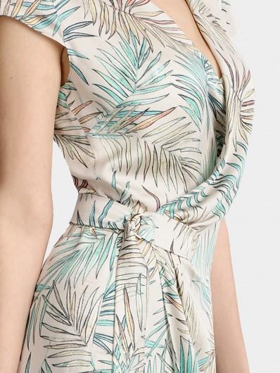 Sukienka na lato, wizytowa i do pracy, wygodna w noszeniu z wiskozy szlafrokowe wiązanie Bee Collection