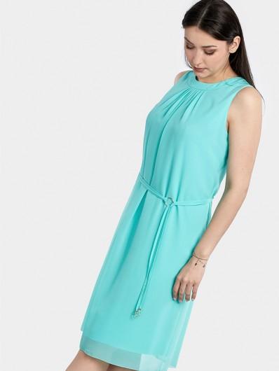 Sukienka wizytowa, elegancka z szyfonu, luźny fason tuszuje brzuszek i biodra miętowa Bee Collection