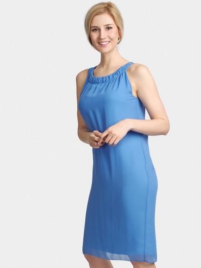 Elegancka, minimalistyczna sukienka wizytowa, do kolan luźna, niebieska Bee Collection