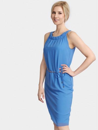 Sukienka na wiosnę i lato, elegancka, ponadczasowa, niebieska midi Bee Collection