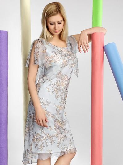 Elegancka wizytowa sukienka na letnie wesele i przyjęcia w kwiaty, błękitna Bee Collection