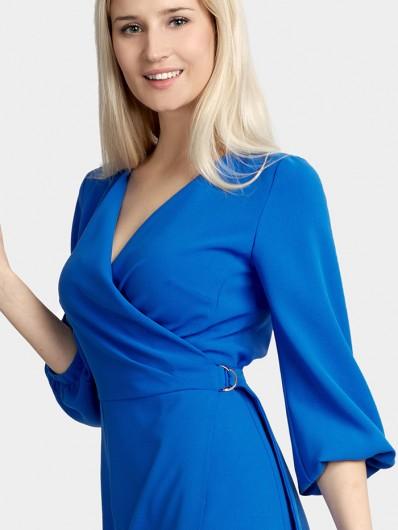 Sukienka wizytowa biznesowa kopertowa z rękawem w kolorze kobaltowym Bee Collection Pinia