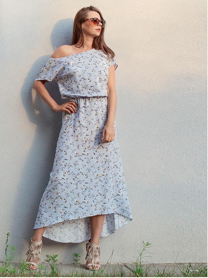 Letnia sukienka z wiskozy asymetryczna w błękicie Bee Collection Vers