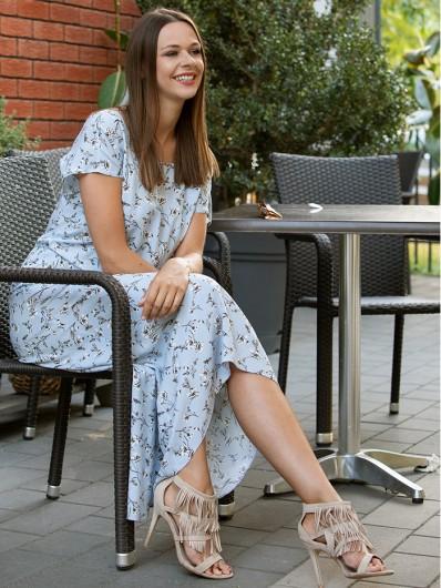 Letnia sukienka, w stylu boho długa z tyłu, za kolano z przodu, błękitna Bee Collection Vers