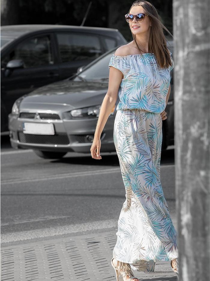 Sukienka na lato długa w pastelowe liście z wiskozy Bee Collection Jamajka