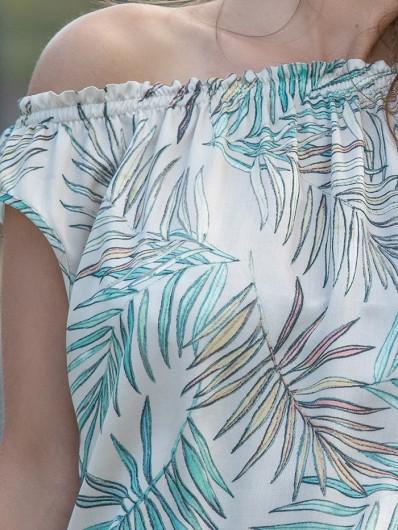 Sukienka z wiskozy drukowanej w liście w kolorze pastelowym, Bee Collection Jamajka