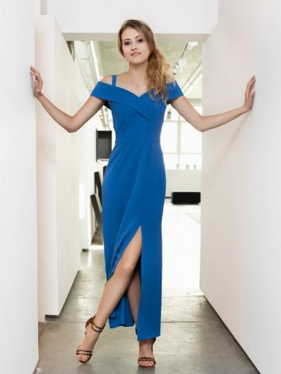Sukienka weselna maxi w kobaltowym chabrowym kolorze Bee Collection Kasjana