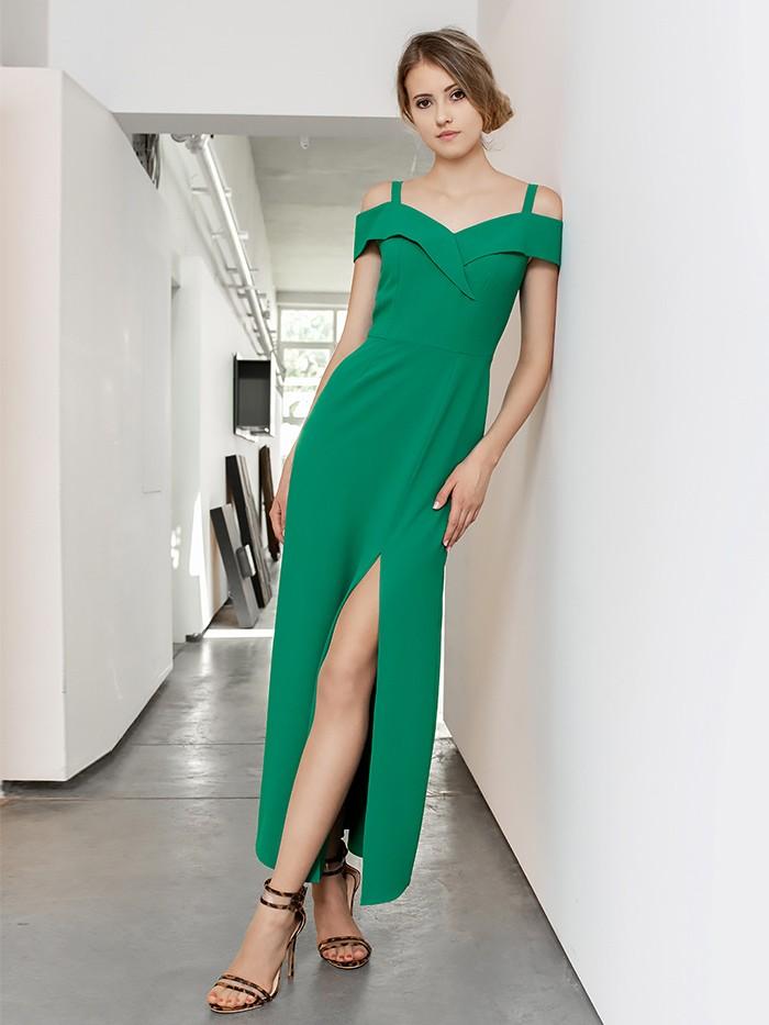 Długa zielona sukienka wieczorowa z odkrytymi ramionami Bee Collection Kasjana