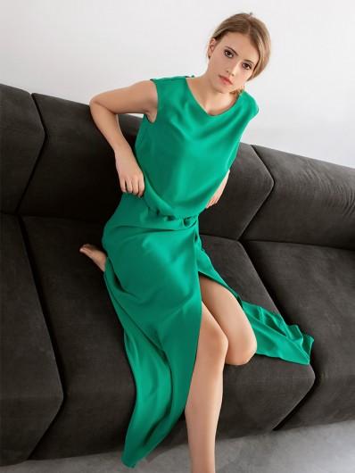 Sukienka wizytowa, dla druhny i modnej mamy, zielona do kostek Bee Collection Paryżanka