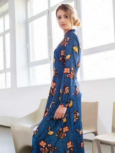 Sukienka maxi do kostek, dziewczęca, nowoczesna z długim rękawem Bee Collection Kinga
