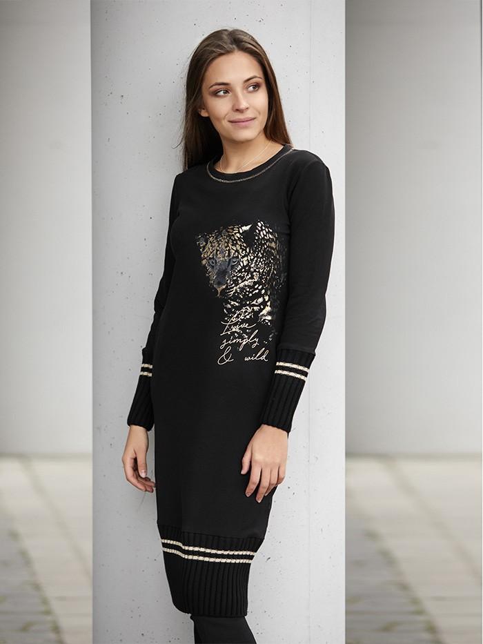 Prosty wygodny fason czarnej sukienki ze złotymi dodatkami Bee Collection Tartinka