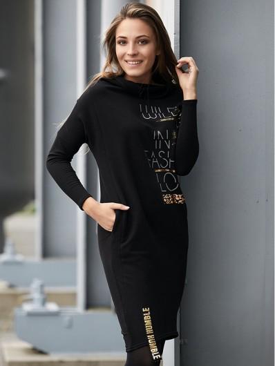 Sukienka z dzianiny czarna, luźna, tuszująca, z długim rękawem do biura, do pracy, na co dzień Bee Collection Argo