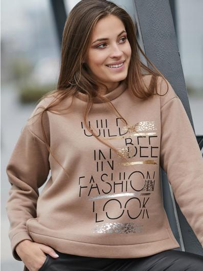 Bluza dresowa z autorskim nadrukiem w kolorze camelu Bee Collection Friend
