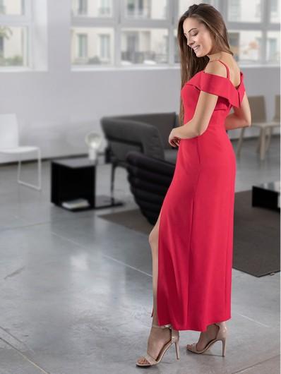 Prosty, klasyczny fason sukienki maxi z odkrytymi ramionami Bee Collection Kasjana