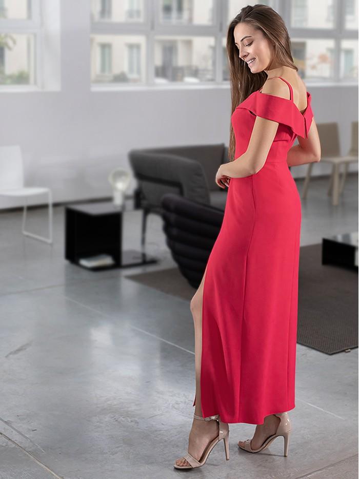 Długa czerwona sukienka wieczorowa KASJANA