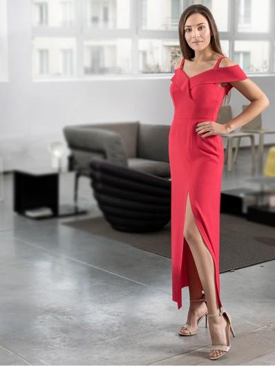 Czerwona długa sukienka z pęknięciem na nodze, gorsetowa góra Bee Collection Kasjana