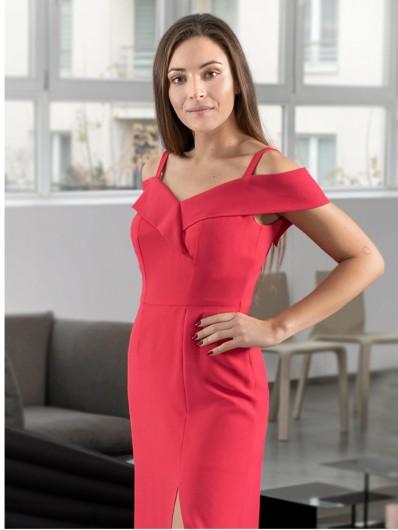 Sukienka z odkrytymi ramionami i wybrana w talii , maxi czerwona na wesele i studniówkę Bee Collection Kasjana