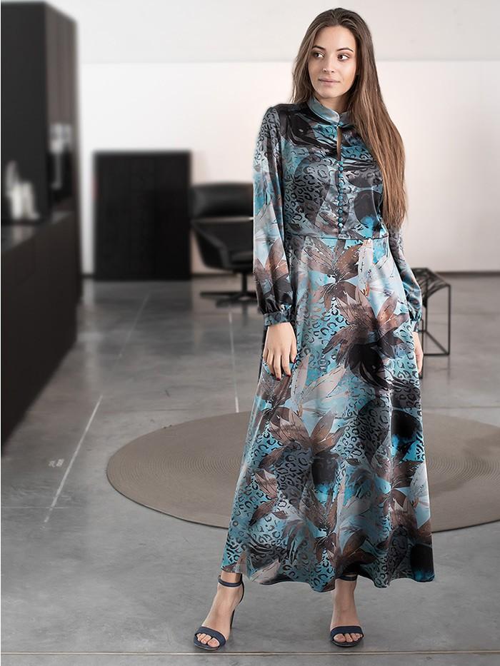Skromny krój ale jak elegancka minimalistyczna sukienka maxi w kwiaty Bee Collection Kinga
