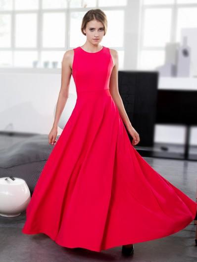 Bardzo szeroki dół, dopasowana, gorsetowa góra i malinowa czerwień sukienka idealna na wesele i studniówkę Bee Collection Neo