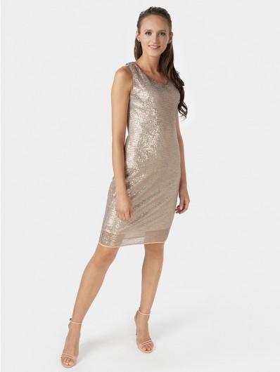 Prosty, klasyczny fason sukienki na szersze ramiączka, podkreślająca sylwetkę, midi Bee Collection