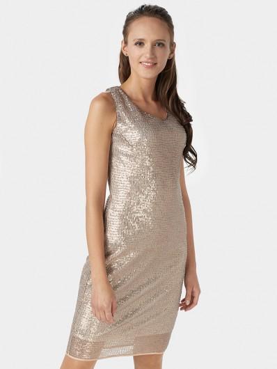 Sukienka cekinowa na ramiączka, kolor cielisty, nude, midi, klasyczny, prosty fason Bee Collection
