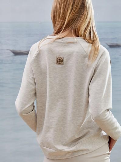 Bluza w kolorze latte, czyli jasnym beżu z modnymi dodatkami, luźna Bee Collection Explorer