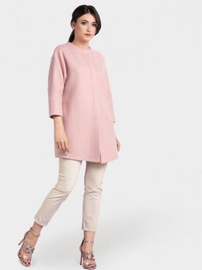 Nowoczesny, modny fason płaszcza w kolorze różu Bee Collection