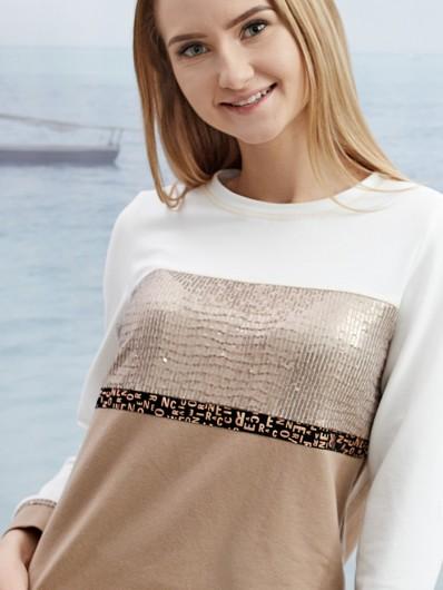 Bluza sportowa z cekinami, połączenie beżu i ecru tworzą styl sporty chic Bee Collection Passage