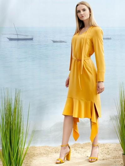 Luźny tuszujący fason sukienki midi z wiązaniem pod szyją Bee Collection