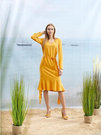 Grzeczna, elegancka a zarazem nonszalancka sukienka koktajlowa, żółta, prosta Bee Collection