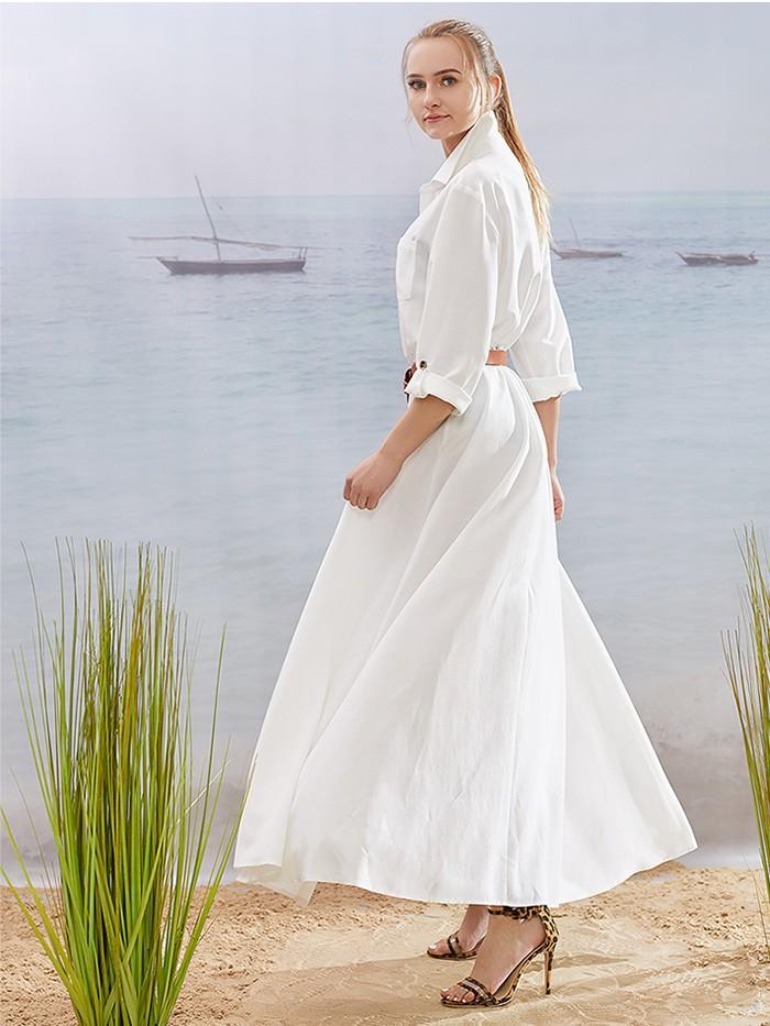 Szeroka, luźna biała sukienka z rękawem i dodatkowym paskiem Bee Collection Velma