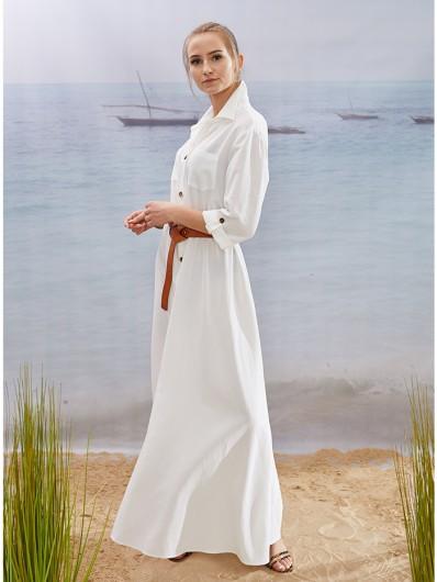 Styl safari z nutą elegancji, biała maxi sukienka z długim rękawem i naszywanymi kieszeniami Bee Collection Velma