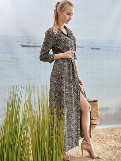 Sukienka w stylu safari, rozpinana, prosta z rękawem i zwierzęcym drukiem Bee Collection Centra