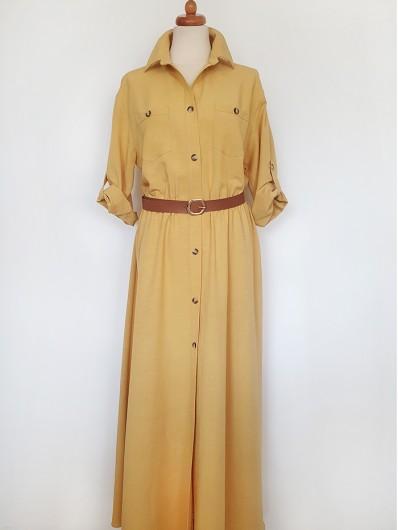 Casualowa sukienka z nutą elegancji, długa rozszerzona z rękawem Bee Collection Velma