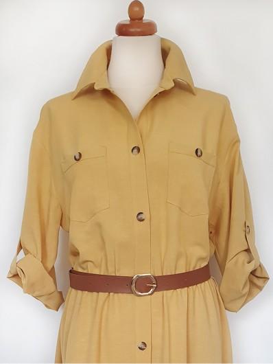 Sukienka żółta luźna tuszująca z kołnierzem i długimi rękawami Bee Collection Velma