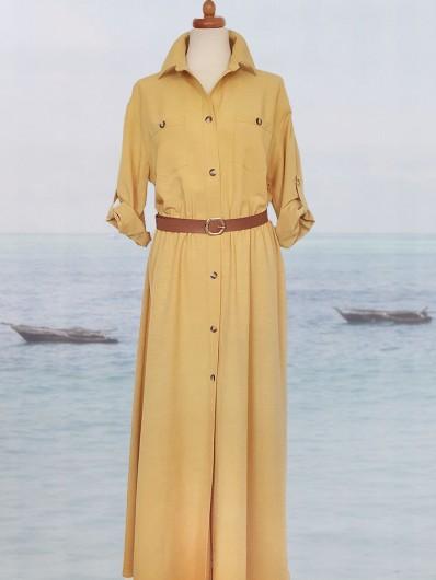 Luźny, tuszujący fason  sukienki w stylu safari w pięknym słonecznym żółtym kolorze Bee Collection Velma