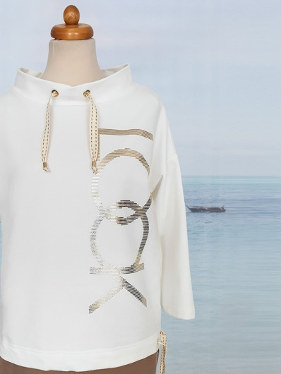 Bluza, luźna z wypukłym ozdobnym drukiem look Bee Collection Toffi