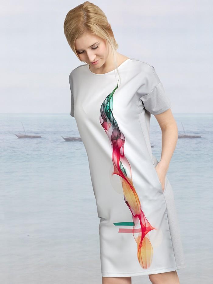 Sukienka midi z szarym tyłem i kolorowym, energetycznym autorskim drukiem Bee Collection Dym