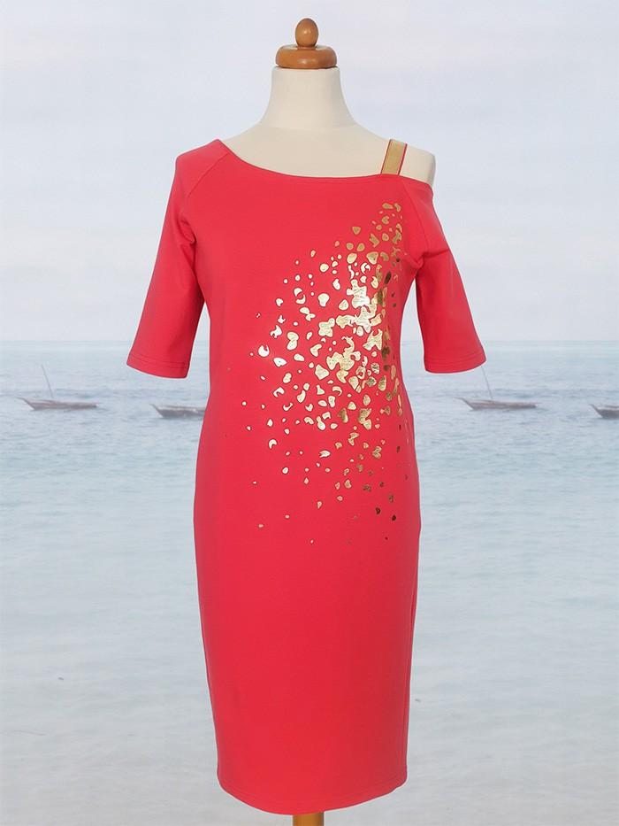 Sukienka w odcieniu malinowej czerwieni, midi, na jedno ramię, midi Bee Collection Ronya
