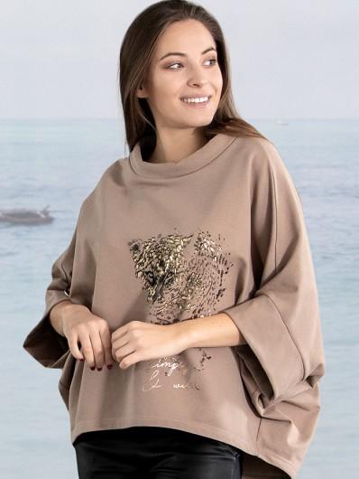 Bluza sportowa z modnym, eleganckim złotym nadrukiem, luźna, tuszująca Bee Collection Niren