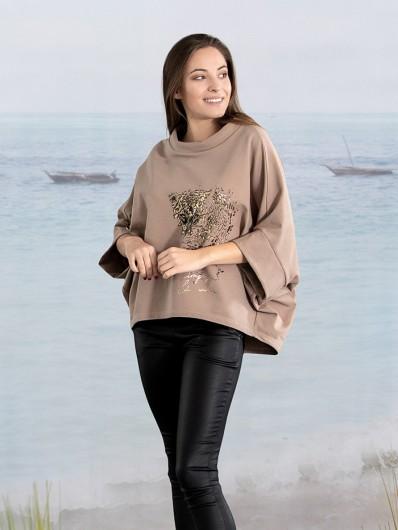 Tuszująca, luźna bluza, w  nowoczesnym wydaniu i w beżowym kolorze, Bee Collection Niren